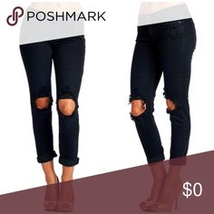 ▫️Black Sexy Boyfriend Destructed Knee Denim Sexy boyfriend jeans in black with destructed knee design. So cute and VERY stretchy. Skinny boyfriend fit, so a little looser than skinnies but not as loose as boyfriend jeans. Mid rise. Wear rolled up or down. Dress up with heels or down with flats! 98% cotton 2%spandex. Modeling 1/25. Measurements in comments!!  *Bundle 2+ items for discount. Jeans Boyfriend