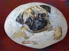 Custom painted pet portrait on the rock. by WerockforKasity