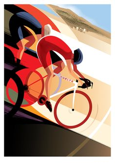 Vuelta poster by guy allen pigment bike art, bicycle art ve bike illustrati Bike Illustration, Graphic Design Illustration, Graphic Art, Poster Retro, Vintage Posters, Bike Poster, Art Deco Posters, Bicycle Art, Cycling Art
