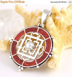SALE Sterling Silver, Compass Design - Red Coral - Pearl - Pendant