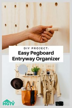 DIY Project: Easy Pegboard Entry Organizer Whether you consider yourself handy or not, this entry organizer is super simple to create. It's a budget-friendly catch-all with style appeal. Bonus: the modular shelving system is the ultimate storage solution. Diy Projects On A Budget, Easy Diy Projects, Diy Projects Garage, Diy Projects Apartment, Diy Projects For Bedroom, Diy Projects Videos, Diy On A Budget, Furniture Projects, Diy Furniture