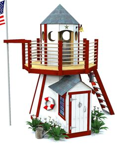2 level, wooden outdoor lighthouse playhouse plan