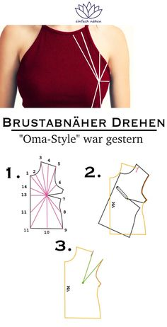 """It does not always have to be """"grandma"""" - 2 variants of turning breast dart - Schnittmuster - Tipps & Tricks - Sewing Clothes, Diy Clothes, Dou Dou, Diy Mode, Techniques Couture, Tied Shirt, Leftover Fabric, Sewing Projects For Beginners, Tee Dress"""