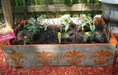 Pretty up your raised beds with stencils.