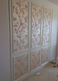 Almost finished.... :) Fitted wardrobe doors given a feminine new look with Laura Ashley's Oriental Garden in chalk pink.