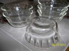 Vintage Lot 6x Scallop clear glass Fire King 6 oz Custard Dessert pudding Cups  $4.00.each