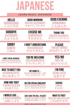 Japanese beginner phrases for tourist and people who want to study Japanese at home. Easy and useful phrases and sentences to start learning Japanese # Learn Japanese with these beginners phrases Learn Basic Japanese, Basic Japanese Words, Japanese Phrases, Study Japanese, Learn Korean, Learning Japanese, Japanese Sentences, Japanese Kanji, Japanese Things