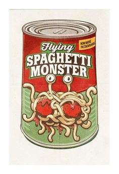 Flying Spaghetti Monster Poster Canned Food Poster Art Pastafarian. FSM USD) by SaulsCreative Flying Spaghetti Monster, Crime, Poster Prints, Framed Prints, Poster Poster, Les Religions, Paper Frames, Consumerism, Poster Making