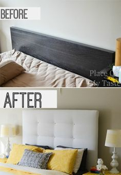 IKEA HACKS - What a transformation! I will show you how to make an upholstered headboard and how to turn an old IKEA malm bed into a completely new one. Ikea Malm Bed, Ikea Malm Hack, Furniture Makeover, Ikea Bed, Home Diy, Ikea Diy, Malm Bed, Upholstered Headboard, Ikea Headboard
