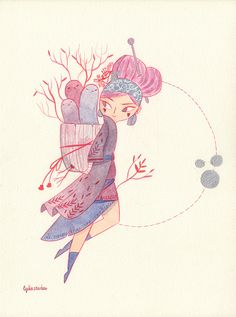 Lady Pink - Watercolor Illustration, Lydia Sánchez on ArtStation at https://www.artstation.com/artwork/PnKbn?utm_campaign=notify&utm_medium=email&utm_source=notifications_mailer