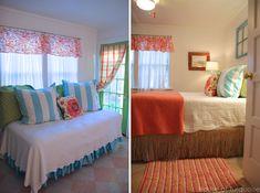 House of Turquoise: Bedroom  grass skirt bed skirt