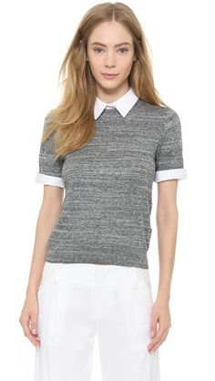 alice + olivia Fitted Sweater with Collar Trim | SHopBop - $286