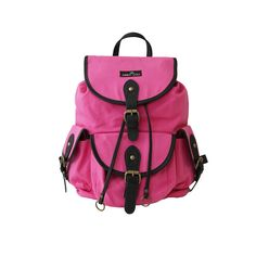 Social Butterfly Backpack in sassy pink!  Real leather trim and shoulder pads.  Cute contrasting lining.