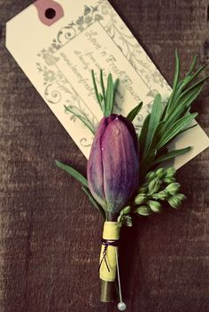 simple buttonhole option - prefer this wrapping to twine. not keen on tulips but colour and simplicity are effective Boutonnieres, Purple Boutonniere, Corsage And Boutonniere, Tulip Wedding, Modern Wedding Flowers, Purple Wedding, Parrot Tulips, Purple Tulips, Button Holes Wedding