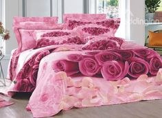 New Arrival Beautiful Pink Roses and White Petals Print 4 Piece Bedding Sets bed & bath inn 3d Bedding Sets, Queen Size Bedding, Pink Bedspread, Purple Bedrooms, Beautiful Pink Roses, 3d Rose, Black Rooms, Bedclothes, Floral Bedding