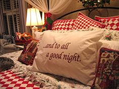 And To All A Goodnight! Christmas Bedroom - Like the red and white coverlet! Good idea for guest room at the holidays! Christmas Time Is Here, Merry Little Christmas, Noel Christmas, Country Christmas, Winter Christmas, Vintage Christmas, Christmas Crafts, Christmas Decorations, Christmas Ideas