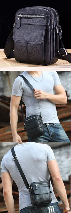 US$29.98 + Free shipping. Men Bag, Genuine Leather Bag, Sling Bag, Business Bag, Casual Bag, Crossbody Bag, Shoulder Bag. Material: Genuine Leather. Multiple Pockets Design.