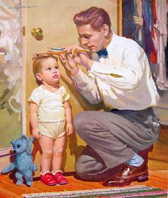 Unlisted title - by Harry Anderson (American, 190 .- Nicht aufgeführt Titel – von Harry Anderson (Amerikaner, Gifts for D… Unlisted Title – by Harry Anderson (American, Gifts for Dad – Ruby … – Ruby Lane Vintage – # listed -
