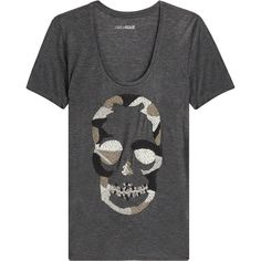 Zadig & Voltaire Embellished Camo Skull T-Shirt ($190) ❤ liked on Polyvore featuring tops, t-shirts, grey, grey t shirt, scoop neck tee, camo tee, camo t shirt and slim fit t shirts