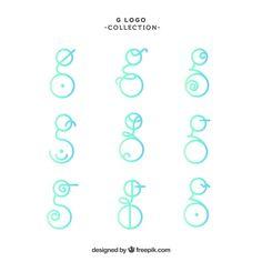 "Abstract logos of letter ""g"" collection . G Logo Design, Logo Design Template, Logo Templates, Letter Logo, Monogram Letters, Hexagon Logo, Love Logo, Initials Logo, Abstract Logo"