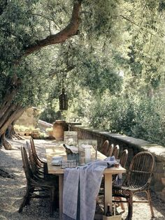 Provence: dining al fresco under an ancient leafy canopy. The perfect setting for any meal. Outdoor Rooms, Outdoor Gardens, Outdoor Seating, Outdoor Dining Set, Gazebos, Al Fresco Dining, Olive Tree, Outdoor Entertaining, Porches