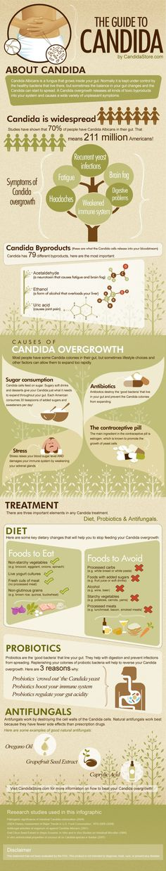 An infographic to explain the causes, symptoms, diagnosis and treatment of Candida. Candida is a condition that affects millions of people. Learn abou