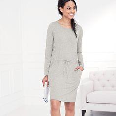 Drawstring Hip Dress - Silver Grey Marl   The White Company