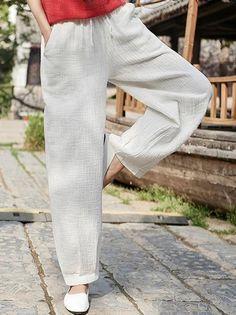 Loose Retro Lace-up Pants - cicklive Loose Pants Outfit Summer, Casual Pants, Wide Leg Linen Pants, Medieval Fashion, Suit Fashion, Cotton Pants, One Piece Swimwear, Custom Clothes, Pants For Women