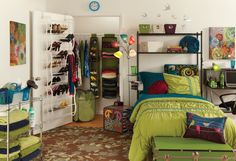Great dorm Idea for this semester. The shelves above the bed.