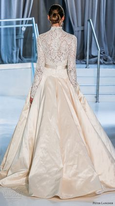 peter langner spring 2018 bridal long sleeves high neck heavily embellished bodice romantic modest a  line wedding dress covered lace back chapel train (18) bv -- Peter Langner Spring 2018 Wedding Dresses