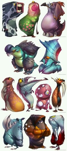 A load of monster designs that i think would look good on a t-shirt