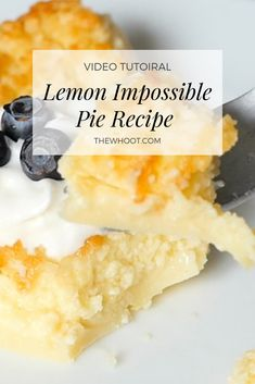 Lemon Impossible Pie Recipe Easy Video Instructions This Lemon Impossible Pie has been an Internet sensation. A custardy pie with a coconut top and self crusting base, this is heaven on a plate. Lemon Dessert Recipes, Easy Pie Recipes, Köstliche Desserts, Lemon Recipes, Sweet Recipes, Baking Recipes, Delicious Desserts, Lemon Magic Cake Recipe, Best Lemon Pie Recipe