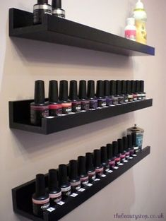 "Nail polish storage shelves from Home Depot. 36"" or 24"" floating picture shelves available in white or espresso. Contemporary storage solution for nail polish"