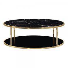 Table Basse Ronde Doré Luxor avec Dessus en Marbre Noir | Tables Basses