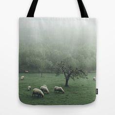 Sheeps - vert Tote Bag by Tomas Hudolin - $22.00