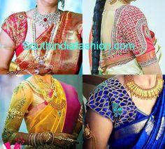 Maggam work blouse designs embellished with stone work, zardozi work and thread work for bridal kanjeevaram sarees. Related PostsMaggam work Silk saree BlouseMaggam Work Bridal Saree BlouseBridal Saree BlouseBeautiful Kundan Work Bridal Blouse