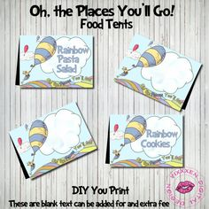 DR. SEUSS food tents Oh The Places You'll go Blue printable file only