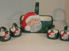 Santa Ceramic Big Basket with 4 Miniture by Lynnshanpaintedgifts, $35.00