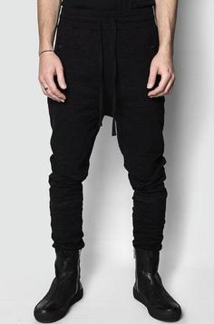 Zip pocket drop crotch sweatpants