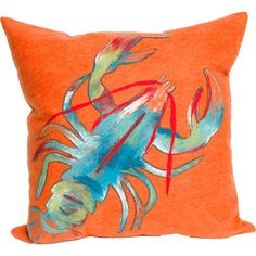 Ocean-inspired elegance. With the look of a painting, this nautical lobster throw pillow pops in hues of blue, red, and orange. The removable cover is made fro…
