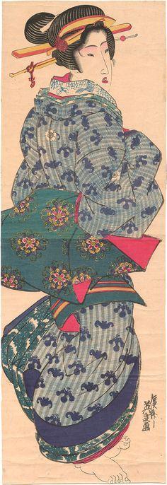 Eisen : Standing beauty wearing a bat/gourd patterned kimono