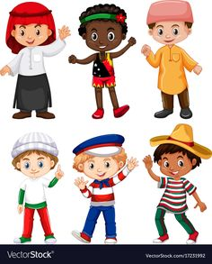 Buy Different Nationalities Of Boys by BlueRingMedia on GraphicRiver. Different nationalities of boys illustration This image was created using Adobe Indesign Included in this packag. Boy Character, Character Costumes, Cartoon Logo, Cartoon Drawings, Les Continents, Boy Illustration, Dance Instructor, Human Drawing, Kids Vector