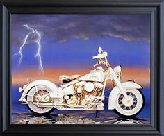 Add a quirky touch to your home decor with this Harley Sturgis motorcycle art print framed poster. This wonderful piece of framed art will infusing a fun element into your living space and it would be a perfect addition for any young boy bedroom. Its wooden golden frame accentuates the poster mild tone. The frame is made from solid wood measuring 18x22 inches with a smooth gesso finish. This framed poster includes a wire hanger on the back for easy display.