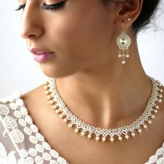 Bridal statement necklace with Pearl chandelier earring, Wedding necklace bridal jewelry, Wedding jewelry sets, Pearl and crystal necklace Bride Necklace, Pearl Pendant Necklace, Pearl Jewelry, Beaded Jewelry, Etsy Jewelry, Wedding Jewelry For Bride, Wedding Jewelry Sets, Wedding Necklaces, Bridal Jewellery