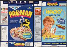 general mills cereal boxes | General Mills - Pac-Man cereal box - Wacky Whipper Offer - 1987 ...
