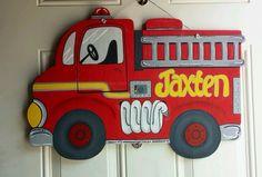 Firetruck Nursery/Hospital Door Hanger by AtCalvaryCreations