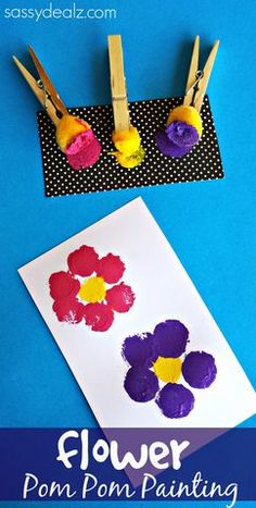Flower Pom Pom Painting Craft for Kids #Spring art project #Mother's Day card Idea | http://CraftyMorning.com