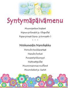 Moomin birthday menu in Finnish