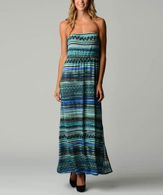 Look at this Dynasty Fashions Teal & Blue Abstract Stripe Strapless Maxi Dress on #zulily today!