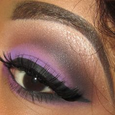 Get ready for a night on the town with lilac eyeshadow and sky high lashes.